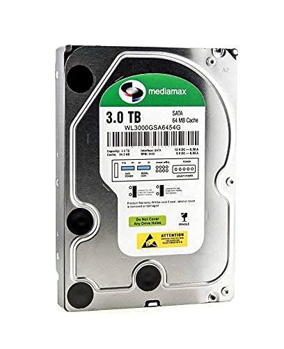 Mediamax 3TB 3,5 Zoll interne Festplatte HDD, SATA III, 6.0 Gb/s Cache 64MB, RPM: 5400 (U/min), 3000GB, WL3000GSA6454G, SATA Festplatte intern, Backup Festplatte für Desktop PC, Gaming Computer