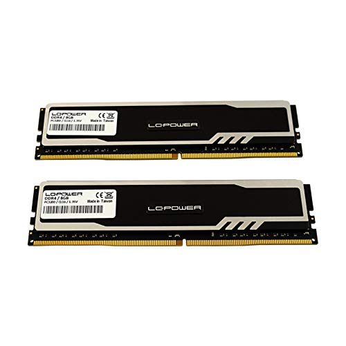 LC-POWER LC-RAM-DDR4-3200-HS-16GB-KIT 16GB RAM(DDR4,UDIMM,3200MHz,XMP 2,0, 288 pin) High Performance Desktop Dual Channel Memory Arbeitsspeicher Gaming Speicher Kit, Schwarz (8GBx2)