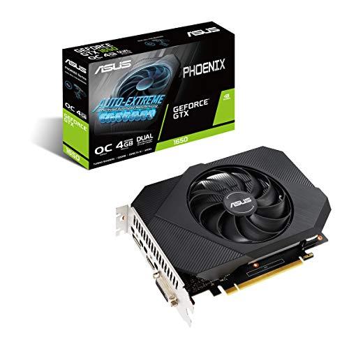 ASUS Phoenix Nvidia GeForce GTX 1650 4GB Power OC Edition Gaming Grafikkarte (GDDR6 Speicher, PCIe 3.0, 1x HDMI 2.0b, 1x DVI, 1x DisplayPort 1.4, PH-GTX1650-O4GD6-P)