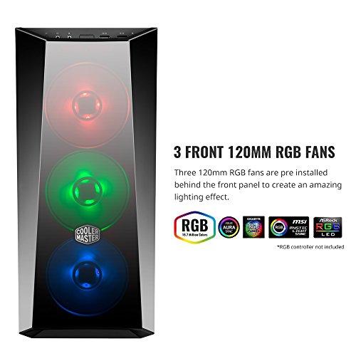 Cooler Master MasterBox Lite 5 RGB PC Gehäuse 'ATX, Micro-ATX, Mini-ITX, 3 x 120mm RGB Lüfter, Echtglas-Seitenteil' MCW-L5S3-KGNN-02