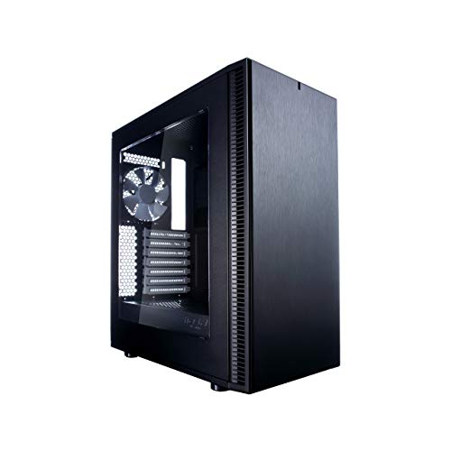 Fractal Design Define C Tempered Glass, PC Gehäuse (Midi Tower mit Seitenteil aus gehärtetem Glas) Case Modding für (High End) Gaming PC, schwarz