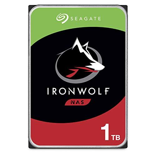 Seagate IronWolf 1 TB HDD, NAS interne Festplatte, 8,9 cm (3,5 Zoll), 5900 U/Min, CMR, 64 MB Cache, SATA 6 GB/s, silber, Modellnr.: ST1000VNZ02, FFP
