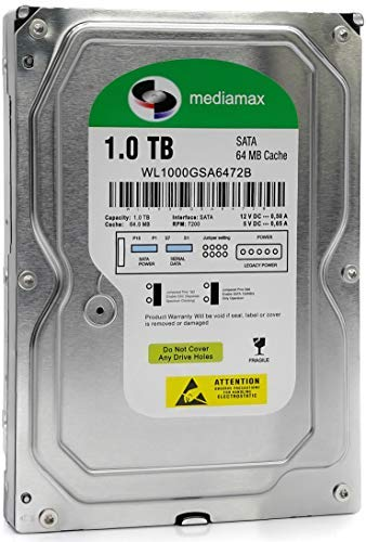 Mediamax interne Festplatte 1TB 3,5 Zoll SATA III, 6.0 Gb/s Cache 64MB, RPM: 7200 (U/min), 1000GB, WL1000GSA6472B, SATA Festplatte intern HDD 1TB, Computer Backup Festplatte für Desktop PC