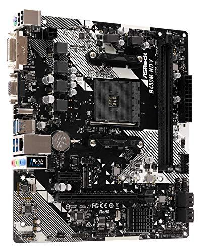 ASRock B450M-HDV R4.0 Sockel AM4/ AMD Promontory B450/ DDR4/ SATA3 & USB3.1/ m.2/ A&Gbe/microATX Motherboard