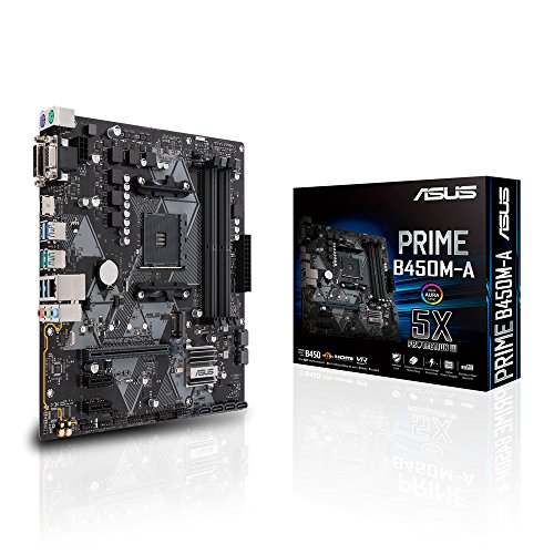 Asus Prime B450M-A Mainboard Sockel AM4 (mATX, AMD AM4, DDR4-Speicher, natives M.2, USB 3.1 Gen 2)