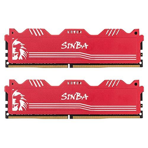 LEVEN SINBA DDR4 8GB (2×4GB) 3200MHz XMP 2.0 PC4-25600 CL16 288-Pin U-DIMM Übertaktungs-RAM-Desktop-Speichermodul für Spiele- Rot (SINBA4U3200172408R-4Mx2)