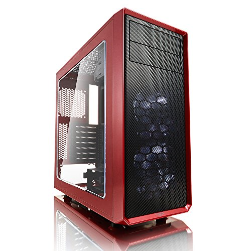 Fractal Design Focus G Red Window, PC Gehäuse (Midi Tower mit seitlichem Fenster) Case Modding für (High End) Gaming PC, rot