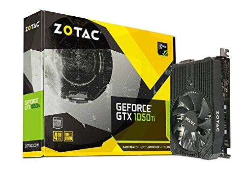 ZOTAC GeForce GTX 1050 Ti Mini Grafikkarte (NVIDIA GTX 1050 Ti, 4GB DDR5, 128bit, Base-Takt 1303 MHz, Boost-Takt 1417 MHz, 7 GHz)